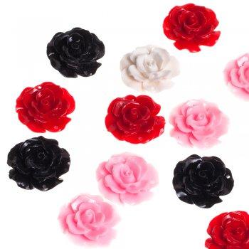 Пластикова намистина троянда мікс кольорів 35 мм