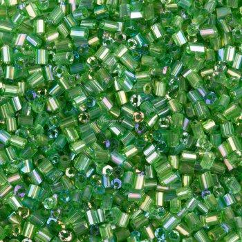 Бисер-рубка зеленый прозрачный 2.1 мм стекло