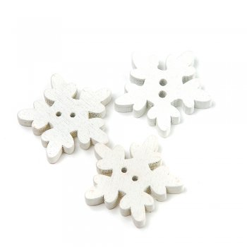 Снежинки белые пуговицы деревянные
