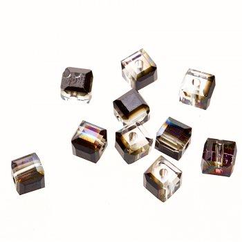 Бусина куб, прозрачный с напылением металлик, хрусталь, 5 мм