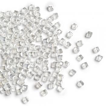 Хрустальная бусина в форме куба 4 мм прозрачная радужная