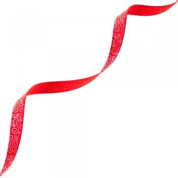 Лента репсовая 10 мм с узором красный