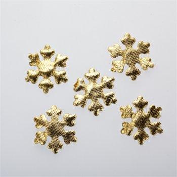Текстильные дутые элементы снежинка золото 40 мм