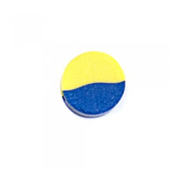 Бусина из полимерной глины круглая желто-синяя 10 мм