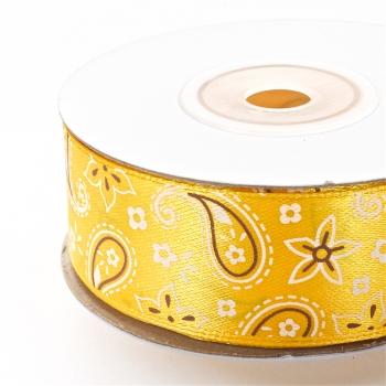 Лента атласная 25 мм с орнаментом желтая