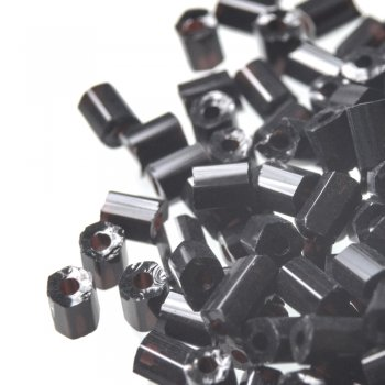 Бісер-рубка чорний циліндричний 2.1 мм скло
