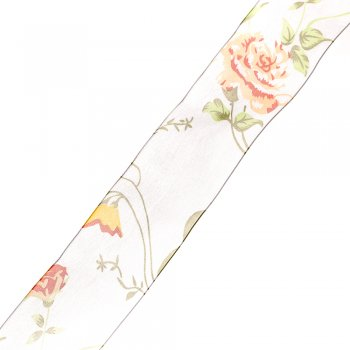 Лента из органзы 4 см белый цветок