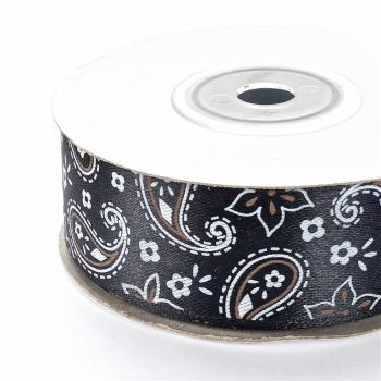 Лента атласная 25 мм с орнаментом черная белый цветочек