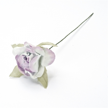 Штучна квітка. Троянда. Біло-фіолетова