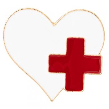 Брошка Серце з червоним хрестом