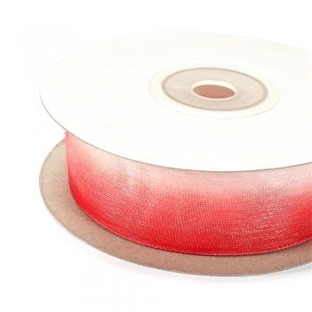 Лента из органзы 25 мм белая с малиновым
