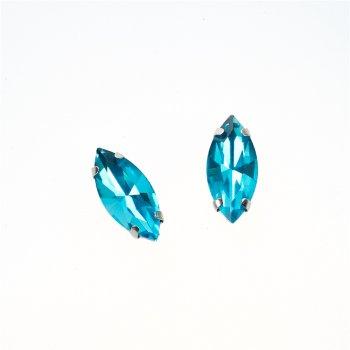 Стразы стеклянные в металлической оправе. Бирюзовый. 15х7 мм