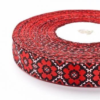 Лента репсовая 20 мм красная с орнаментом