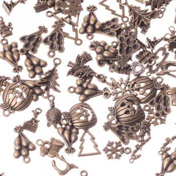 Елка с гирляндой маленькая металлические подвески бронзовые новый год