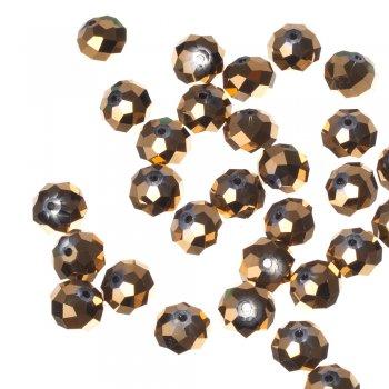 Бусина круглая, золотистая металлик, хрусталь, 14 мм