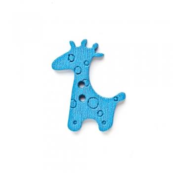 Гудзик дерев'яний Жираф синій 25х20 мм