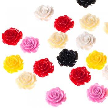 Пластиковая бусина роза микс цветов 28 мм