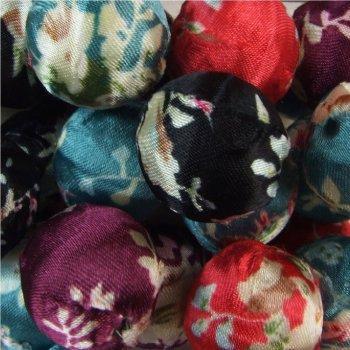 Намистини обтягнуті тканиною мікс кольорів 20 мм