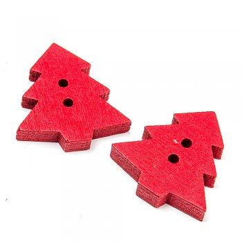 Ялинка маленька темно-червона. ґудзики дерев'яні