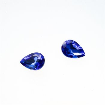 Стразы стеклянные вставные. Синий. 14х10 мм