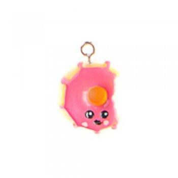 Пончик рожевий. Підвіски з полімерної глини мікс кольорів солодощі