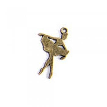Балерина, металева лита підвіска, бронза, 20х14 мм