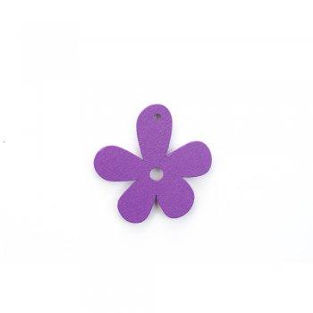 Деревянная подвеска Цветочек Фиолетовый