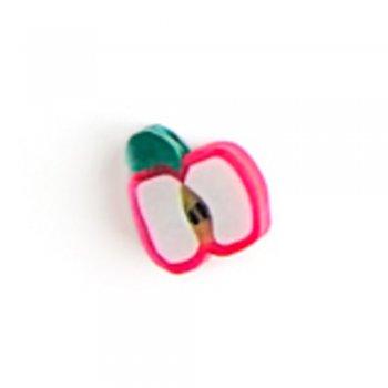 Розовое яблоко. Бусина из полимерной глины, 10 мм