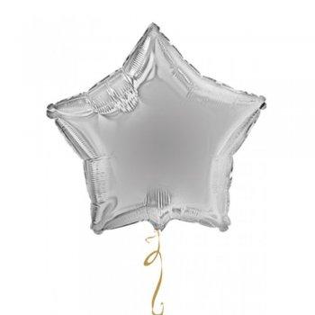 Куля фольга Зірка срібло
