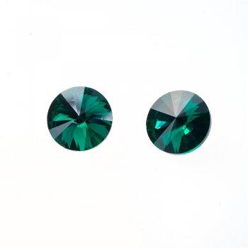 Стразы стеклянные вставные. Изумрудно-зеленый. Диаметр 14 мм.
