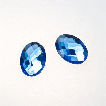 Стрази скляні клейові. Синій. Довжина 18 мм, ширина 13 мм.