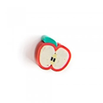 Красное яблоко. Бусина из полимерной глины, 10 мм