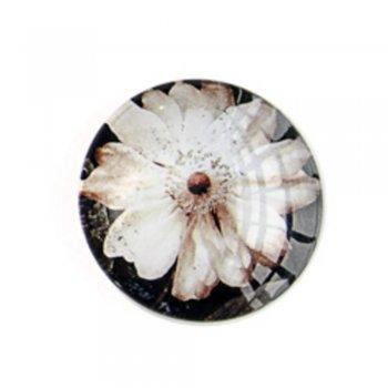Кабошон стекло Белый цветок. Кабошоны стеклянные
