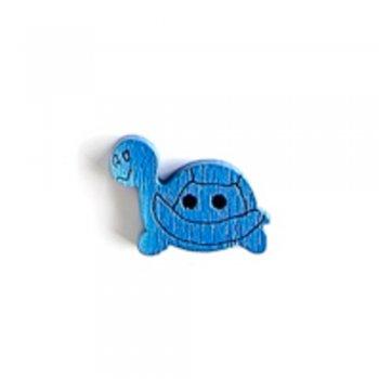Черепаха, пуговица деревянная, синяя, 12х15 мм