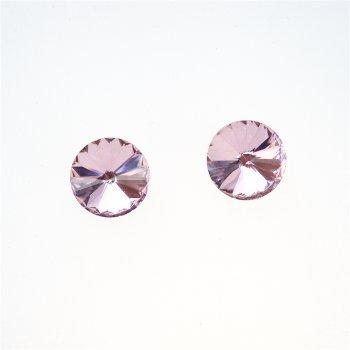 Стразы стеклянные вставные. Розовый. Диаметр 14 мм.