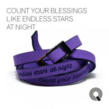 "Браслети квоутлети ""Count your blessings like endless stars at night"", фіолетовий"
