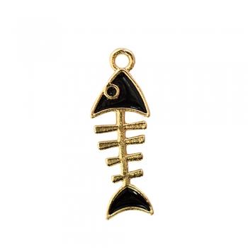 Металева підвіска з емаллю Скелет риби