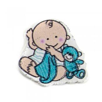 Дитина з ведмедем. Дерев'яні клейові елементи