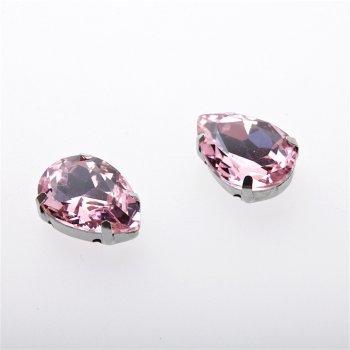 Стрази скляні в металевій оправі. Рожевий. Довжина 18 мм, ширина 13 мм.