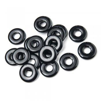 Пластик одноцветный. Кольцо объёмное. Чёрный. Размер 25 мм.