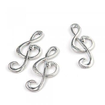 Скрипичный ключ большой металлические литые подвески мельхиоровый микс форм бытовой