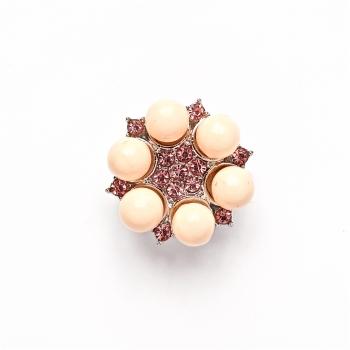 Намистина кнопка SNAP квітка з перлинами