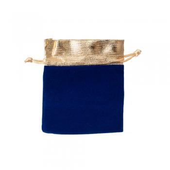 Декоративний мішечок оксамитовий 12х10 см синьо-золотий