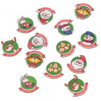 Ґудзики дерев'яні в новорічному стилі. Санта Клаус