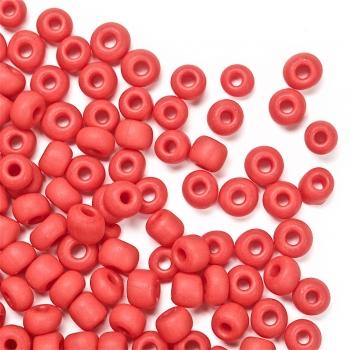 Бисер круглый, красный, матовый. Калибр 6 (3,6 мм)