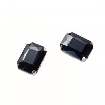 Стразы стеклянные в металлической оправе. Черный. Длина 14 мм, ширина 10 мм.