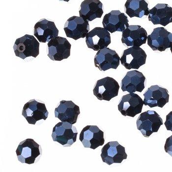 Бусина круглая, чёрная гематитовая, хрусталь, 10 мм