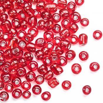 Бисер круглый, крупный, тёмно-красный огонек. Калибр 6 (3,6 мм)