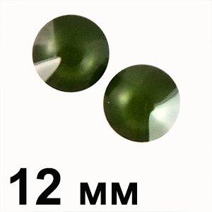 Пластикові кабошони зелений опуклий круг 12 мм