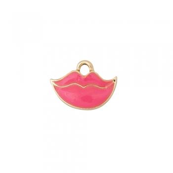 Металева підвіска з емаллю рожеві губи